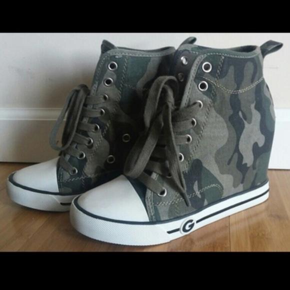 4a3ac035b3c66 Guess Shoes   Camo Wedge Sneakers   Poshmark